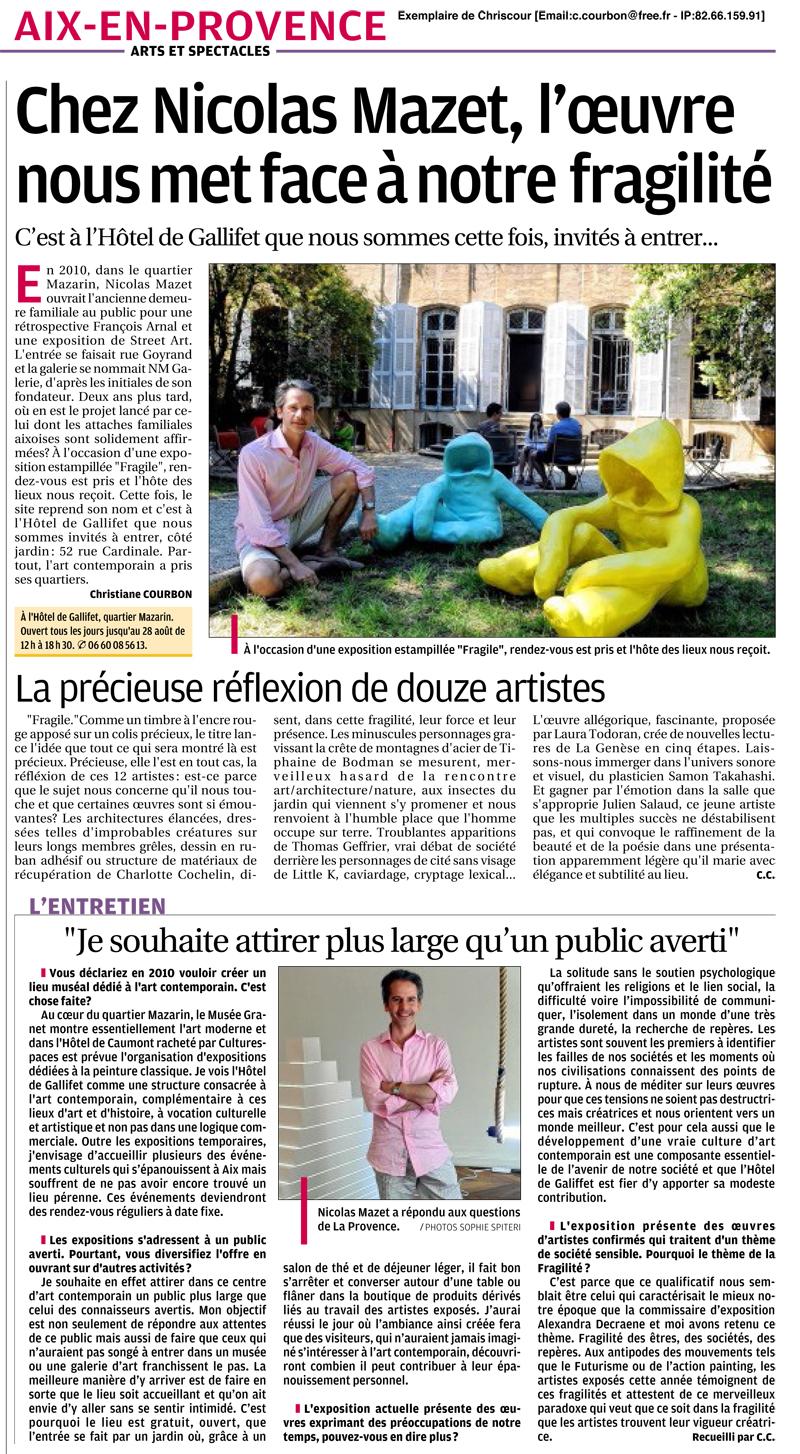 La Provence du 16 juillet 2012